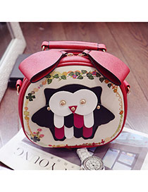 Personality Red Owl Shape Decorated Simple Design  Pu Handbags