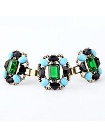 Extravagant Green Gemstone Decorated Simple Design Alloy