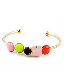 Sweet Multicolor Cany Color Gemstone Decorated Simple Design Alloy Fashion Bangles