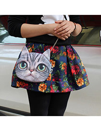 Personality Dark Gray Cat Pattern Simple Design  Cotton Shoulder bags