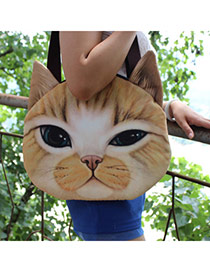 Personality Light Brown Cat Pattern Simple Design