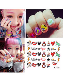 Sweet Multicolour 3d Smile Face&diamond Pattern Simple Design Paster Nails