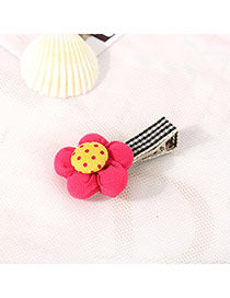 Fashion Plum Red&yellow Dot Pattern Decorated Flower Design Fabric Hair clip hair claw