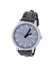 Concise Dark Gray Stripe Pattern Decorated Simple Design  Alloy Men's Watches