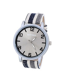 Concise Navy Blue&gray Stripe Pattern Decorated Simple Design  Alloy Men's Watches
