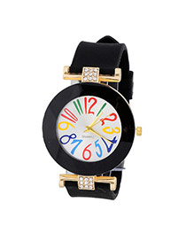Sweet Black Diamond Decorated Simple Design  Alloy Ladies Watches