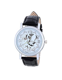 Retro Black&silver Color Roman Numerals Decorated Hollow Out Design Alloy Men's Watches