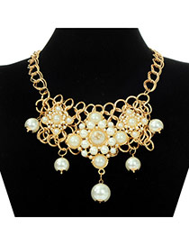Charming White Pearl Decorated Square Shape Design Alloy Fashion Necklaces
