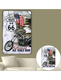 Nostalgic Multicolor Flag Motorcycle Pattern Decorated Simple Design  Iron Household goods