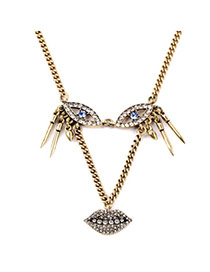 Exaggerate Bronze Eyes&lip Decorated Simple Design Alloy Bib Necklaces