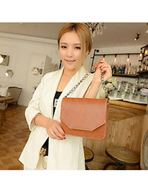 Trendy Light Brown Pure Color Simple Design  Pu Messenger bags