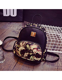 Trendy Black Rivet Decorated Flower Pattern Design  Pu Backpack