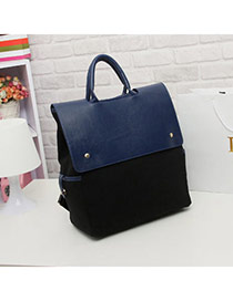 Fashion Navy Blue Rivet Decorated Pure Color Design  Pu Handbags
