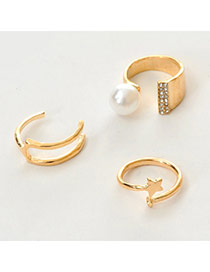 Fashion Gold Color Pearl Decorated Simple Design  Alloy Korean Rings