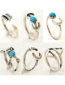 Personalized Antique Silver Moon Shape Decorated Multielement Design  Alloy Korean Rings
