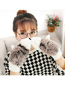 Fashion White Hedgehog Shape Simple Design  Woolen Full Finger Gloves