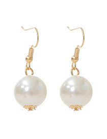 Exquisite White Pearl Decorated Simple Design Alloy Korean Earrings