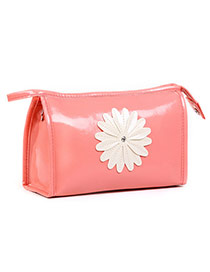 Fashion Pink Sunflower Decorated Pure Color Design  Pu Home Storage Bags