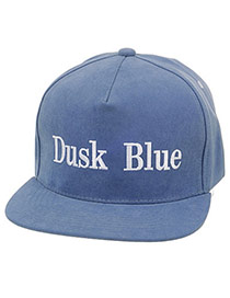 Fashion Blue Letter Dusk Blue Embroideried Decorated Simple Design  Canvas Baseball Caps
