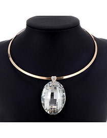 Charming Silver Color Oval Diamond Pendant Decorated Simple Design Alloy Chokers