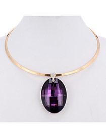 Charming Purple Oval Diamond Pendant Decorated Simple Design