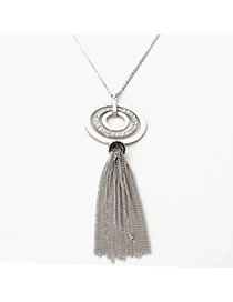 Retro Silver Color Round Shape Pendant Tassel Design Alloy Bib Necklaces