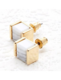 Personality Gold Color Stone Decorated Square Shape Design Alloy