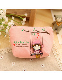 Sweet Pink Cartoon Girl Pattern Decorated Simple Design  Canvas Wallet