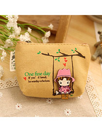 Sweet Brown Cartoon Girl Pattern Decorated Simple Design  Canvas Wallet