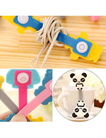 Sweet Black&white Panda Pattern Decorated Simple Design  Silicon Cord Fixer