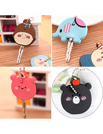 Sweet Brown Bear Shape Decorated Simple Design  Silicon Fashion Keychain