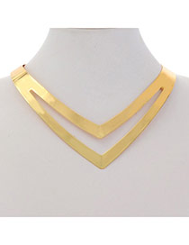 Personalized Gold Color Triangle Shape Hollow Out Design