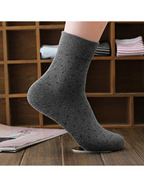 Classic Dark Gray Thick Pure Color Simple Design  Cotton Fashion Socks