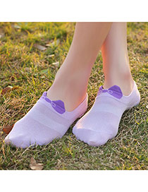 Sweet Purple Bowknot Decorated Simple Design  Cotton Fashion Socks