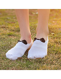 Sweet White Bowknot Decorated Simple Design  Cotton Fashion Socks