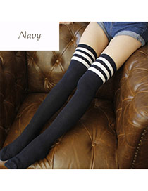Classic Navy Blue+white Stripe Pattern Decorated Knee-high Design  Cotton Fashion Socks