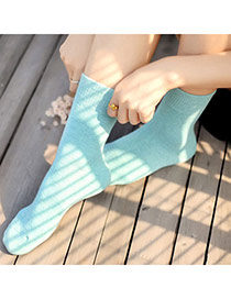 Classic Blue Thick Candy Color Simple Design  Cotton Fashion Socks