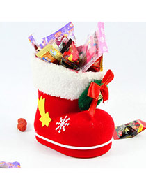 Personalized Red+white Bowknot Dedecorated Boots Shape Design(l)