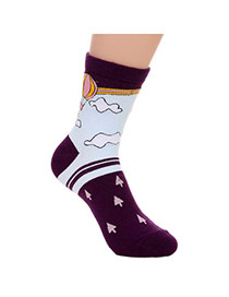 Lovely Purple Thick Fire Balloon Pattern Decorated Simple Design  Cotton Fashion Socks