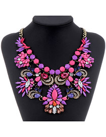 Luxurious Purple+plum Red Gemstone Decorated Flower Design
