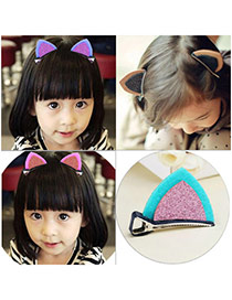 Sweet Skyblue+pink Cat Ears Shape Decorated Simple Design Fabric Kids Accessories