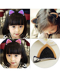 Sweet Khaki+black Cat Ears Shape Decorated Simple Design Fabric Kids Accessories