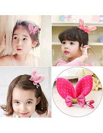 Cute Plum Red Dot Pattern Decorated Bowknot Design Fabric Kids Accessories