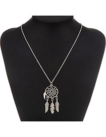Fashion Silver Color Leaf Decorated Round Shape Pendant Design Alloy Chains