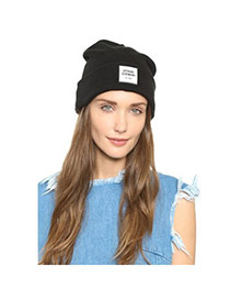 Casual Black Letters Opening Ceremony Decorated Pure Color Design Wool Knitting Wool Hats