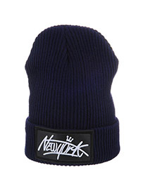 Casual Navy Blue Letters New York Decorated Pure Color Design Wool Knitting Wool Hats