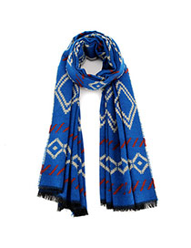Fashion Dark Blue Geometric Figure Pattern Simple Design  Imitation Cashmere knitting Wool Scaves