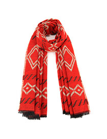 Fashion Red Geometric Figure Pattern Simple Design  Imitation Cashmere knitting Wool Scaves