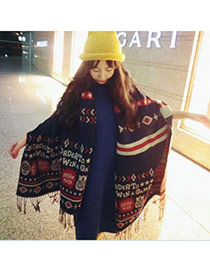 Fashion Navy Blue Geometric Figure Pattern Simple Design  Woolen Yarn knitting Wool Scaves