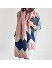 Fashion Apricot Pink Square Pattern Simple Design  Imitation Cashmere knitting Wool Scaves